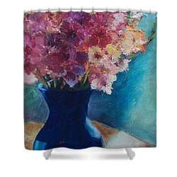 Gladioli-blue Shower Curtain