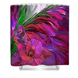 Shower Curtain featuring the mixed media Gladiolus In Red by Carol Cavalaris