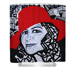 Glafira Rosales In The Red Hat Shower Curtain by Yelena Tylkina