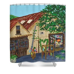 Glass Blower Shop Harmony California Shower Curtain by Katherine Young-Beck