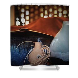 Glass Clay And Wood Combination Of Shower Curtain by John Glass