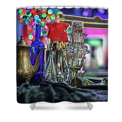 Glass In The Frame Of Colorful Hearts Shower Curtain