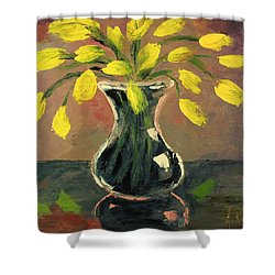 Glass Vase And Yellow Flowers Shower Curtain