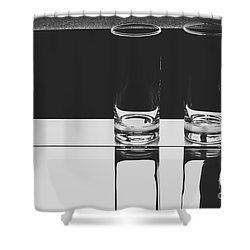 Glasses On A Table Bw Shower Curtain