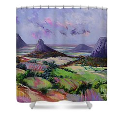 Glasshouse Mountains Dreaming Shower Curtain