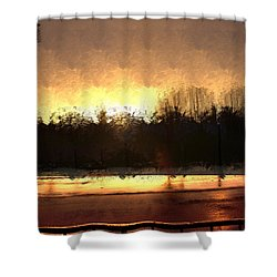 Glassy Dawn Shower Curtain by Terence Morrissey