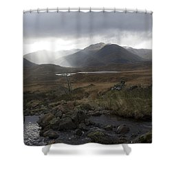 Glen Affric Storm Shower Curtain by Sue Arber