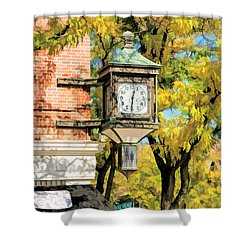 Shower Curtain featuring the painting Glen Ellyn Corner Clock by Christopher Arndt
