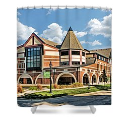 Shower Curtain featuring the painting Glen Ellyn Public Library by Christopher Arndt