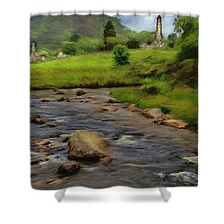 Shower Curtain featuring the painting Glendalough In The Distance by Jeff Kolker