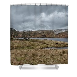 Shower Curtain featuring the photograph Glendevon Reservoir In Scotland by Jeremy Lavender Photography