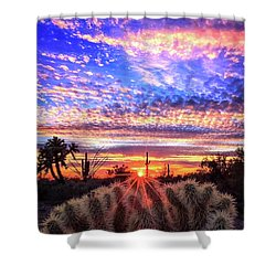 Shower Curtain featuring the photograph Glimmering Skies by Rick Furmanek