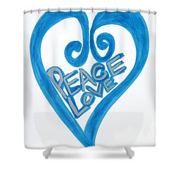 Global Peace And Love Heart Shower Curtain