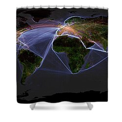 Global Transportation Map Shower Curtain by Felix PD and Globaia