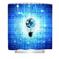 Globe And Light Bulb With Technology Background Shower Curtain by Setsiri Silapasuwanchai