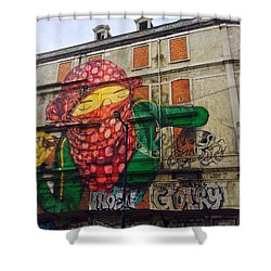 Globe Building Art Painting Shower Curtain by Sheila Mcdonald