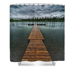Shower Curtain featuring the photograph Gloomy Rainy Day On Norbury Lake by Darcy Michaelchuk