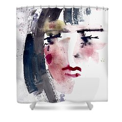 Shower Curtain featuring the painting Gloomy Woman  by Faruk Koksal