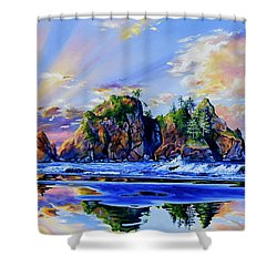 Shower Curtain featuring the painting Glorious Point Of The Arches by Hanne Lore Koehler