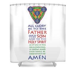 Glory Be Prayer Shower Curtain by Lawrence Klimecki