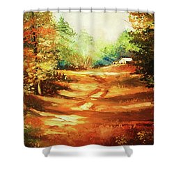 Glory Road In Autumn Shower Curtain by Al Brown