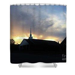 Glory To God Sunset Shower Curtain
