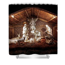 Glory To The Newborn King Shower Curtain by Shelley Neff