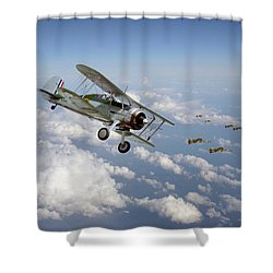 Shower Curtain featuring the digital art  Gloster Gladiator - Malta Defiant by Pat Speirs