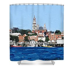 Gloucester City Hall From Inner Harbor Shower Curtain