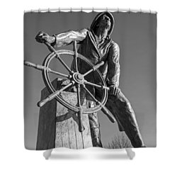 Gloucester Fisherman's Memorial Statue Black And White Shower Curtain