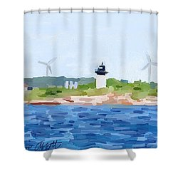 Gloucester Ma Skyline From Harbor Shower Curtain