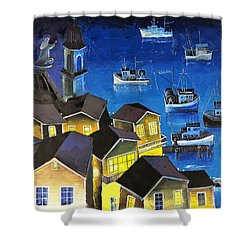 Glouchester Harbor Shower Curtain by Mikhail Zarovny