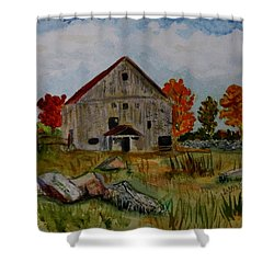 Shower Curtain featuring the painting Glover Barn In Autumn by Donna Walsh