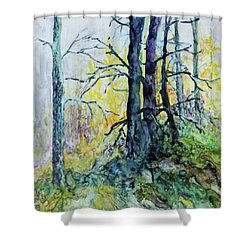 Shower Curtain featuring the painting Glow From The Tamarack by Joanne Smoley