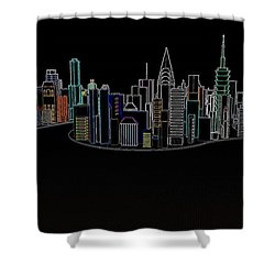 Glowing City Shower Curtain