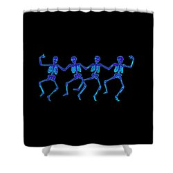Shower Curtain featuring the digital art Glowing Dancing Skeletons by Jennifer Hotai