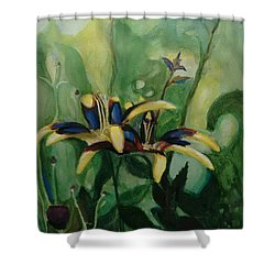 Glowing Flora Shower Curtain
