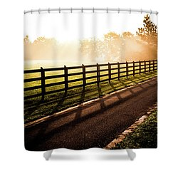 Shower Curtain featuring the photograph Glowing Fog At Sunrise by Shelby Young