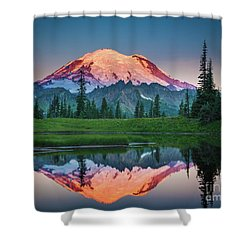Glowing Peak - August Shower Curtain by Inge Johnsson
