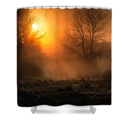 Glowing Sunrise Shower Curtain by Everet Regal