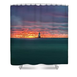 Glowing Sunset On Lake With Lighthouse Shower Curtain