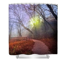 Shower Curtain featuring the photograph Glowing Through The Trees by Debra and Dave Vanderlaan