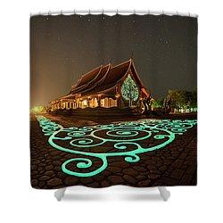 Glowing Wat Sirintorn Wararam Temple, Ubon Shower Curtain