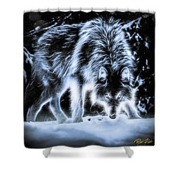 Shower Curtain featuring the photograph Glowing Wolf In The Gloom by Rikk Flohr