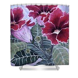 Shower Curtain featuring the painting Gloxinias by Karen Zuk Rosenblatt