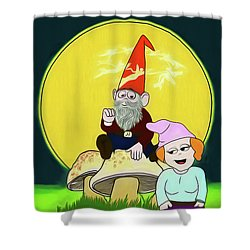 Shower Curtain featuring the digital art Gnome Sweet Gnome by John Haldane
