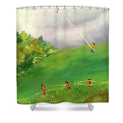 Shower Curtain featuring the painting Go Fly A Kite by Denise Tomasura
