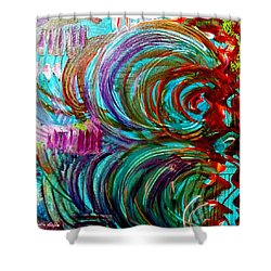 Go With The Flow Shower Curtain by Julie  Hoyle