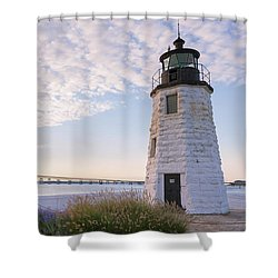 Goat Island Lighthouse And Bridge Shower Curtain