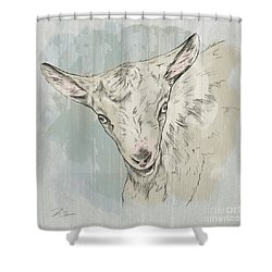Goat Portrait-farm Animals Shower Curtain